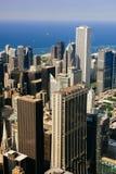 CHICAGO USA - 20 Juli, 2017: Stad av Chicago Flyg- sikt av Chicago e Arkivbilder