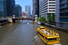 Chicago Water Taxi on the Chicago River in downtown. Stock Images