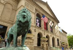 Chicago, USA - June 05, 2018: Lion skulpture front of the Art In royalty free stock photography