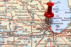 Chicago on USA map Royalty Free Stock Image