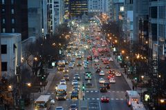 Chicago traffic. Chicago, Usa - march 15, 2018: End of day traffic on South Michigan Avenue in the City of Chicago Stock Photo