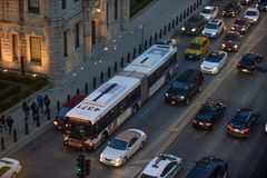 Chicago traffic. Chicago, Usa - march 15, 2018: End of day traffic on South Michigan Avenue in the City of Chicago Royalty Free Stock Images