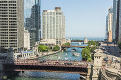 Chicago, USA - May 30, 2016: Aerial view of Lake Michigan, DuSable bridge and Wacker Drive with skyscrapers, people and cars Royalty Free Stock Image