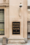 Chicago, USA - May 30, 2016: Federal Reserve sign, logo and text with La Salle street Royalty Free Stock Photos