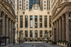 Chicago, USA - May 30, 2016: Symmetrical art deco building of Board of Trade along La Salle street in Illinois Stock Photos