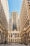 Chicago, USA - May 30, 2016: Symmetrical art deco building of Board of Trade along La Salle street in Illinois Stock Photography