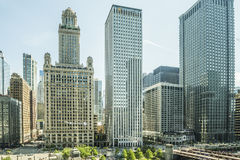 Chicago, USA - May 30, 2016: View of Wacker Drive with bridge, skyscrapers, people and cars in downtown Stock Image