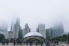Chicago, USA - November 5, 2017: Fog Settling over Millenium Park Cloud Gate Monument Cloudy Day stock photos