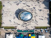 CHICAGO, USA - OCTOBER 1, 2017: Millennium park aerial view with. CHICAGO, USA - OCTOBER 1, 2017: Millennium park aerial view, with many people walking Royalty Free Stock Image