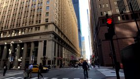 Panorama of downtown at day time, observing architecture, city life stock video