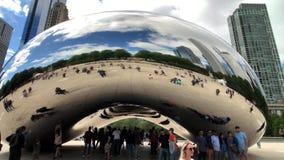 Tourists visiting the city landmark sculpture Cloud Gate