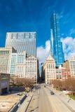 Chicago USA: Skyskrapor och kontorsbyggnader i i stadens centrum Chicago Arkivbild
