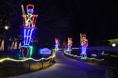 Chicago, USA. 31st December 2016. Zoo Ligths. Chicago, USA, 31st December 2016 : To walk through the luminous display at New Year's Eve at Lincoln Park Zoo in Royalty Free Stock Photography