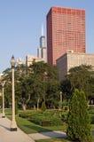 Chicago van de binnenstad in een de vroege zomerochtend royalty-vrije stock fotografie