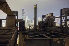 Chicago van de binnenstad - Nachtmening Stock Afbeelding