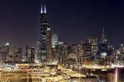Chicago van de binnenstad - Nachtmening Royalty-vrije Stock Fotografie