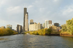 Chicago, view from river. View of Chicago with Willis or Sears Tower from the river. Near sunset Royalty Free Stock Photos