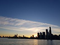 Chicago view sky downtown from Michigan royalty free stock photography