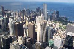 Chicago. View of Chicago from sky tower stock photography
