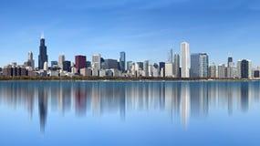 Chicago - visión panorámica desde el lago Michigan fotografía de archivo