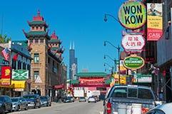 Chicago: Vizinhança e Pui Tak Center do bairro chinês o 23 de setembro de 2014 Fotos de Stock