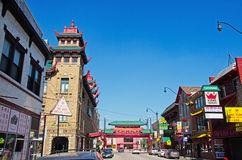 Chicago : Voisinage et Pui Tak Center de Chinatown le 23 septembre 2014 image stock
