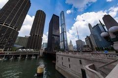 CHICAGO, W centrum Chicagowska Nowożytna architektura Zdjęcie Stock