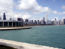 Chicago from the Water. Chicago skyline with Shedd Aquarium from Lake Michigan Royalty Free Stock Images