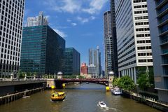 Chicago Water Taxi on the Chicago River in downtown. Royalty Free Stock Photo
