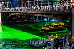 Chicago Water Taxi crosses a dyed green St. Patrick`s Day. As party-goers gather to take pictures royalty free stock images