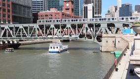 Chicago water taxi stock footage