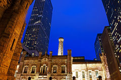 The Chicago Water Tower at Night Royalty Free Stock Photos
