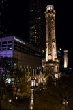 Chicago Water Tower at Night. Night Lights brighten the Chicago Water Tower stock image