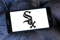 Chicago White Sox baseball team logo. Logo of Chicago White Sox team on samsung mobile. The Chicago White Sox are an American professional baseball team Royalty Free Stock Photography