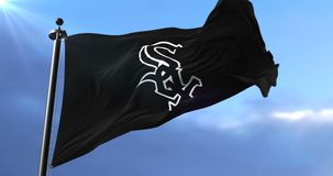 Chicago White Sox flag, american professional baseball team, waving, loop. Flag of the team of the Chicago White Sox, american professional baseball team, waving stock video footage