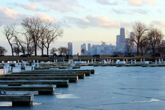 Chicago Winter Scene Empty Boat Docks and Skyline Royalty Free Stock Image