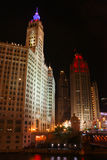 Chicago Wrigley Building & Tribune Tower at Night Stock Photography