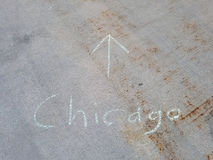 Chicago written in chalk on sidewalk Royalty Free Stock Images