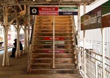 Chicago wynosił el pociągu schodki i platformę Zdjęcia Royalty Free