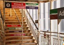 Chicago wynosił el pociągu schodki i platformę Fotografia Royalty Free