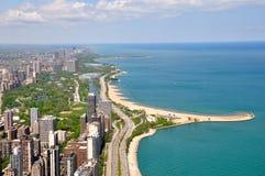 Chicago y lago Michigan Foto de archivo libre de regalías