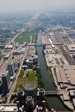 Chicago y río de Chicago foto de archivo