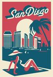 San Diego California postcard. Skyline royalty free stock photo