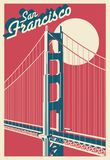 San Francisco California postcard. Vector illustration stock illustration