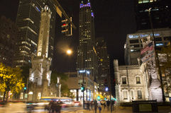 Chicago Water Towers. Chicagos Water Towers at night, Michigan Ave & Chicago Ave Royalty Free Stock Images