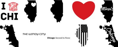 Chicagowska Illinois wektorowa mapa z flag? ameryka?sk? ilustracji
