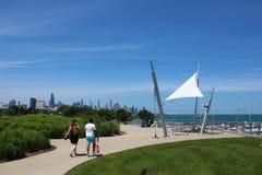 Chicagowska linia horyzontu i 31st Uliczny schronienie na południowej stronie miasto Zdjęcie Royalty Free