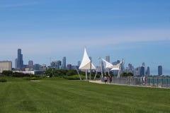 Chicagowska linia horyzontu i 31st Uliczny schronienie na południowej stronie miasto Zdjęcia Royalty Free