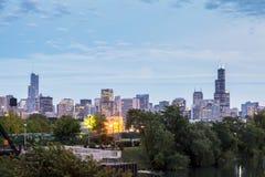 Chicagowska linia horyzontu, Illinois, usa Obrazy Stock