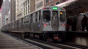 Chicagowska overground stacja metru - miasto Chicago zbiory wideo